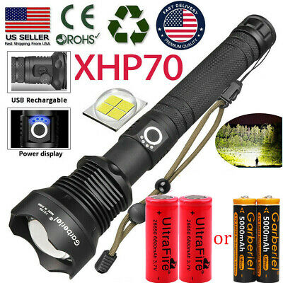 Super Bright 990000LM 18650 26650 XHP70 Flashlight USB Rechargeable Zoom Torch T