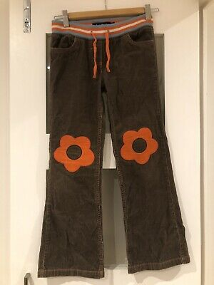 Mini Boden Brown Cord Trousers With Orange Flowers  Size 9y