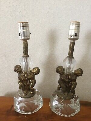 Pair Of Vintage Heavy Brass Twin Cherubs Table Lamps with Glass Crystal Base