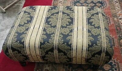 Antique LARGE Soft Ottoman / Footstool Turned Wooden Legs