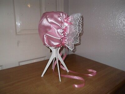 Sissy~Maids~Adult Baby~Tv/Cd~Unisex Silky Satin & Lace Trimmed Bonnet