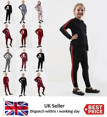 Girls Kids Velvet Hooded Vogue/Stripe/Unicorn Tracksuit Top & Bottom Lounge Wear