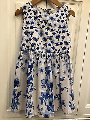 Girls Next Age 2-3 Years Dress blue Flower Print Cotton White And Blue