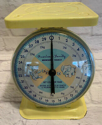 American Family Vintage Yellow Nursery Scale Tray Baby Weight Ounces Dial 30lbs