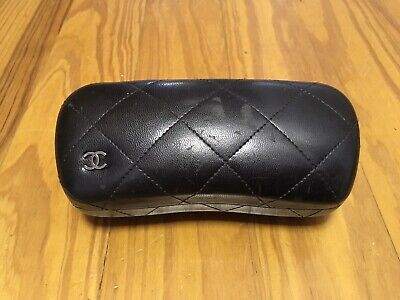 Authentic Chanel Black Leather Quilted CC Sunglasses Glasses Hard Shell Case