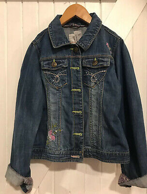Next Girls Age 9-10 Years Denim jacket Great Condition Embroidery Front & Back
