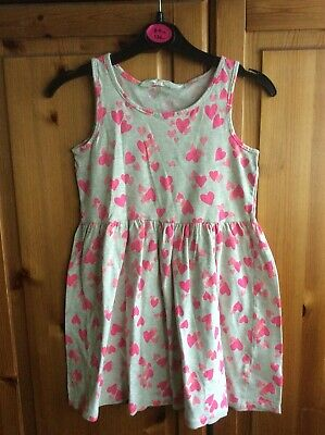 H&M Girls Grey With Pink Hearts Dress Age 5-6 Years