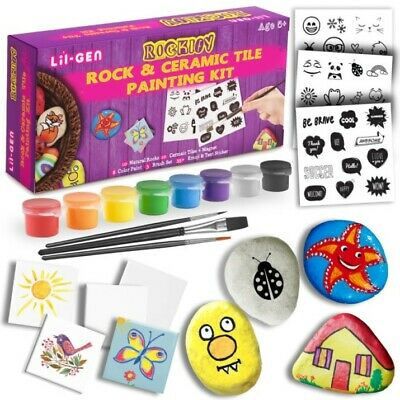 Children's Rock & Tile Painting Set with Stickers, Paint & Brushes - Full kit