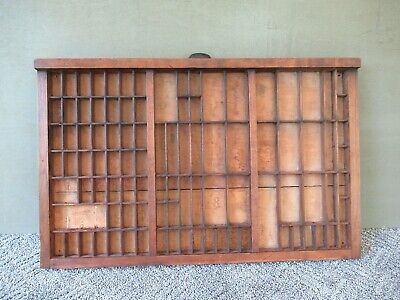 """Antique Type Tray Shadow Box Printers 98 Sections 26"""" x 16-1/2"""", Original Handle"""