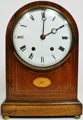 Antique French 8 Day Gong Striking Mahogany Domed Top Inlaid Bracket Clock