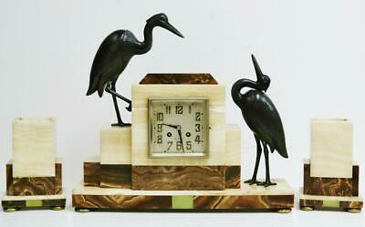 Antique French 8 Day Striking Art Deco Mantel Clock Set With Heron Bird Figures