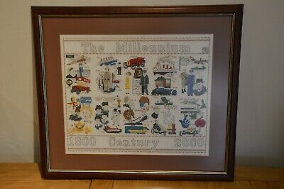 Completed Framed Cross Stitch Picture - Millennium, History of the 20th Century