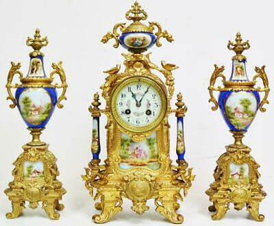 Antique French 8Day Striking Gilt Metal & Blue Sevres Porcelain Mantel Clock Set