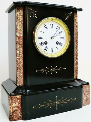 Superb Antique French 19thC 8 Day Slate & Red Marble Bell Striking Mantel Clock