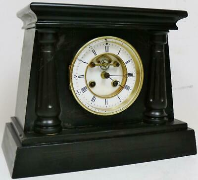 Antique French 8 Day Bell Striking Engraved Egyptian Designs Slate Mantel Clock