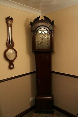 longcase clock George III James Scott Leith dated 1774 to 1791 rollling moon