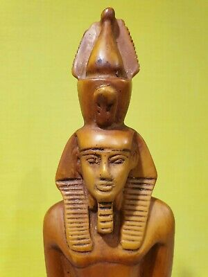 Ancient Egyptian Pharaoh Ramesses Statue Figurine Ramses Scarab Handmade