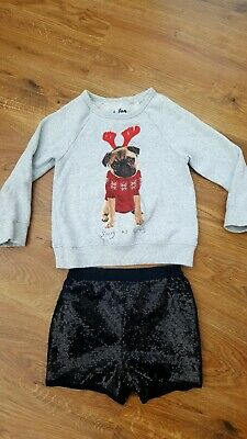 Girls Christmas Outfit Next Jumper & Sequin Shorts Age 5-6