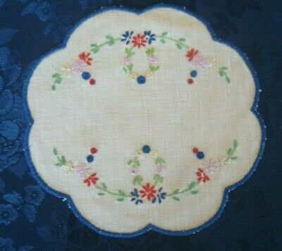 Vintage Hand Embroidered Floral Small Round Doiley Blue Embroidered Edge