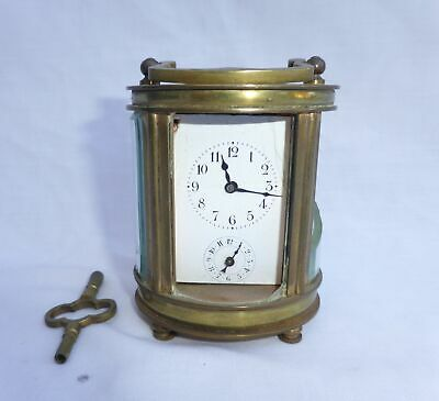 Antique French Miniature Oval Carriage Clock Works A/F