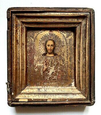 19c Orthodox Icon Jesus Christ in Kiot Levkas Gilding Hand Painted Board 20x17cm