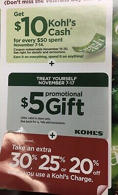 Kohl's Coupons $5 Off Promo Gift 25% Off Purchase 11/7-11/17 🛍 🎁$10 Off $50