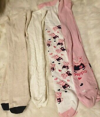 4x BABY GIRLS 3-4 years WINTER TIGHTS BUNDLE christmas Peppa pig new next day