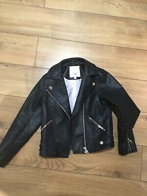 River Island Girls Age 7/8 Years Black Leather Biker Jacket Excellent Condition