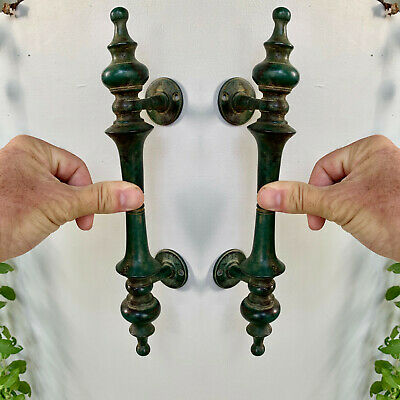 "2 oxidized green DOOR handle pulls solid SPUN 100% brass vintage old style 12 ""B"