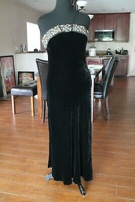 Badgley Mischka Womens Jewel Neck Black Velvet Cocktail Dress w/ Scarf sz 8 JT01