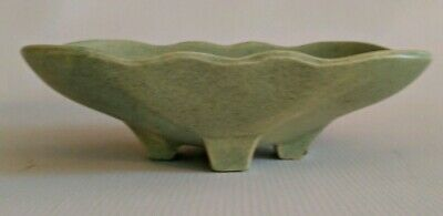 Vintage Art Pottery McCoy Green Speckled TV Tray Footed Planter USA