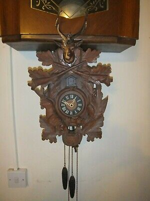 Cuckoo West German Vintage Clock REGULA Black Forest Hunting Deer Rabbit Phaesan
