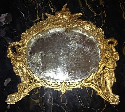 Antique Victorian Desk Mirror Gilded Cast Iron Ornate Cherub Angels B & W Vanity
