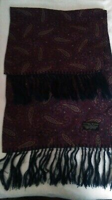 Vintage 1960s Tootal Double Sided Wine Paisley Pattern Soft Scarf Mod Wear
