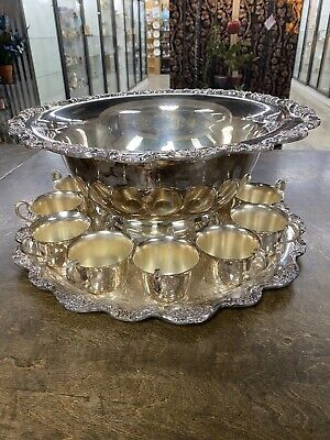 VINTAGE TOWLE  SILVER PLATED  PUNCH BOWL W/ 12 CUPS + Tray,