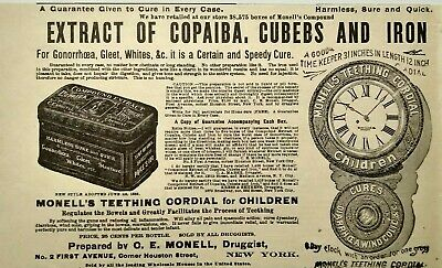 1895 Monell's Compound Extract Tin Gonorrhea Cure Quackery Vtg Print Advertising