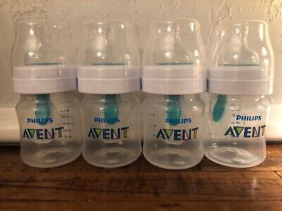 4 Philips Avent Anti-colic Wide-Neck w/ AirVent Baby Bottles Clear 4oz 0m+ L39