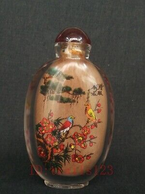 Collection China Glass Internal Painting Flowers and Birds Figure Snuff Bottles