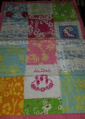 Girls POTTERY BARN KIDS Toddler Crib ALOHA Quilt Blanket ~ Play Picnic Summer