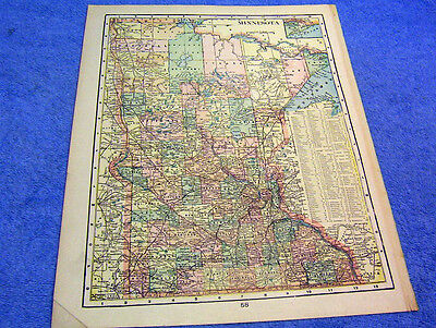 Antique Map Of Minnesota W/ Indian Reservations    Beautifully Colored   1901
