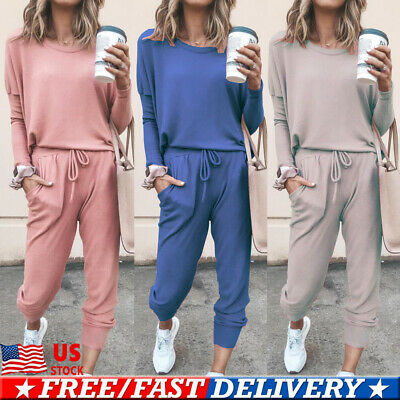 2Pcs Women Tracksuit Hoodies Sweatshirt Pants Set Sport Wear Casual Sweat Suit
