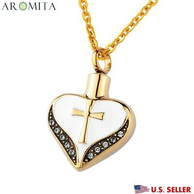 Cross On Gold Heart Cremation Jewelry Keepsake Pendant Memorial Urn Necklace New