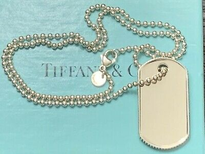 """Tiffany & Co. Sterling Silver Coin Edge Dog Tag 20"""" Beaded Chain Necklace"""