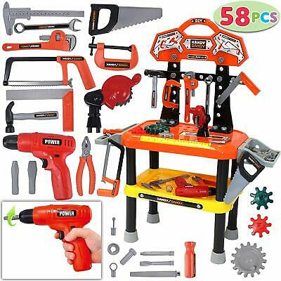 58 Pcs Kids Workbench Realistic Tools Electric Drill Educational Play Xmas Gifts