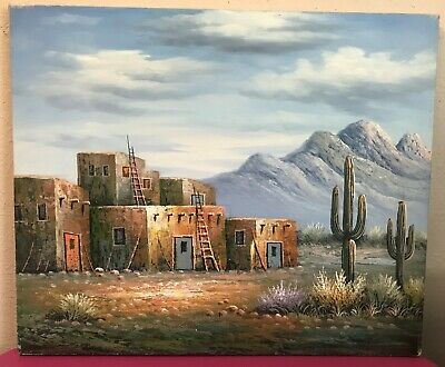 "Native Tigua Indian Pueblos Houses of New Mexico Vintage Oil On Canvas 20"" x 24"""