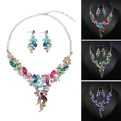 Crystal Jewelry Set Flower Necklace Earrings Sets for Women Bridal Wedding Gifts