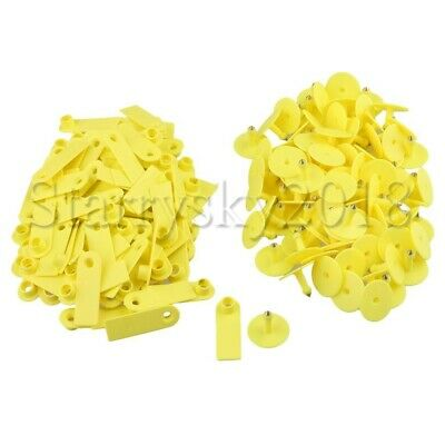 100pcs Yellow Goat Pig Sheep Cattle Beef Plastic Livestock Ear Tag Label