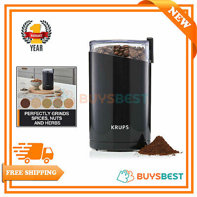 Krups Twin Blade Coffee Mill Spice & Herb Grinder 200W 75g Stainless Steel Black