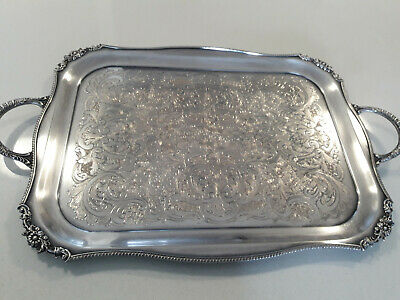 Large Heavy Ornate Silver Plate Tray Sheffield England