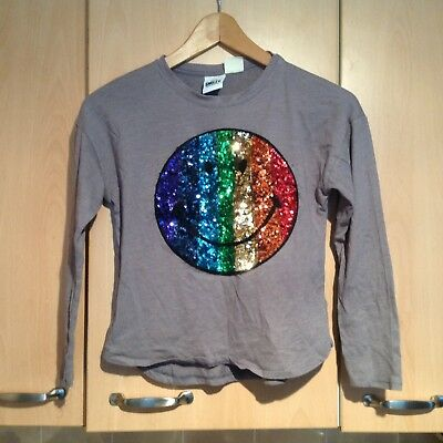 Smiley Glittery Top For Children Aged 9 Years  In  Good Clean Condition